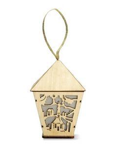 ZERMATT: Wooden MDF lantern-shaped ornament with flickering LED light and ribbon hanger #christmas Find us on facebook at https://www.facebook.com/JNLondon