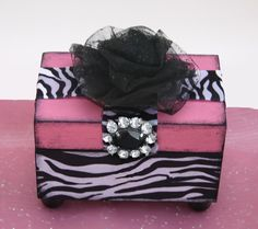 Zany Zebra Trinket Jewelry Box Hot Pink by NandJDesigns on Etsy, $27.99