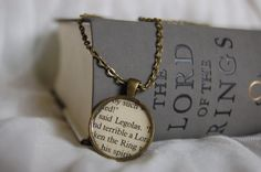 Lord of the Rings bookpage necklaces!! I found this really awesome Etsy listing at https://www.etsy.com/listing/206788785/lord-of-the-rings-legolas-bookpage