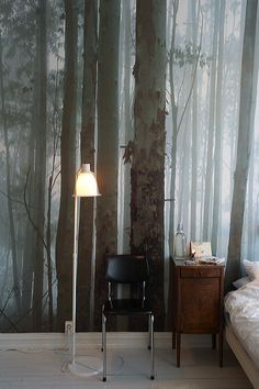 Mural wallpaper making a comeback. In the right room, it could be fantastic. Mysterious Forest Wallpaper by Nono Wallpaper Wall, Forest Wallpaper, Bedroom Wallpaper, Nature Wallpaper, Wallpaper Designs, Crazy Wallpaper, Neutral Wallpaper, Scenic Wallpaper, Mountain Wallpaper
