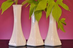 Vintage Milk Glass Wedding Vases Set of 3 EO Brody by ClassicCabin