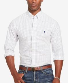 POLO RALPH LAUREN Polo Ralph Lauren Men's Tattersall Poplin Shirt. #poloralphlauren #cloth #down shirts