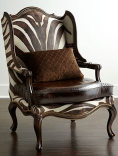 Shop Zena Hairhide & Leather Wing Chair from Massoud at Horchow, where you'll find new lower shipping on hundreds of home furnishings and gifts. Animal Print Furniture, Bergere Chair, Chair Price, Wing Chair, Chair And Ottoman, Living Room Chairs, Living Rooms, Dining Chairs, Zebra Print