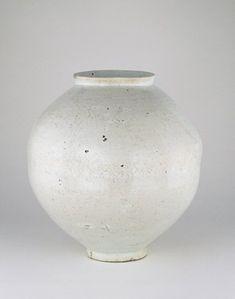 Korea, Joseon dynasty, 1600-1800 Glazed white porcelain 'full moon' jar.