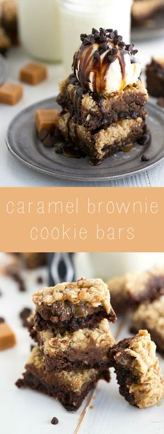 BROOKIES!! Caramel fudge brownies topped with an oatmeal cookie layer. Delicious and simple dessert!