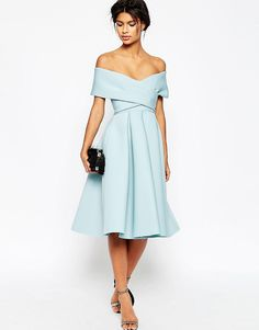 Image 1 of ASOS Premium Scuba Off The Shoulder Midi Dress