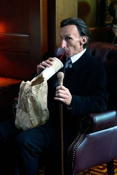 """Supernatural - Season 7 - """"Meet the New Boss""""... Death's face is soo great he's like these humans are entertaining I think I will keep watching. Also this is good soda"""