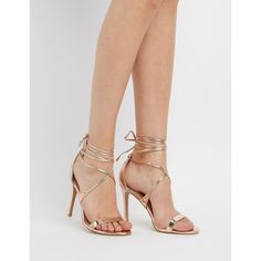 Charlotte Russe Lace-Up Two-Piece Sandals ($30) ❤ liked on Polyvore featuring shoes, sandals, rose gold, laced sandals, metallic sandals, stiletto heel sandals, stilettos shoes and high heel stilettos