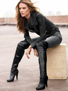 alessandra ambrosio - style - leather jacket - boots