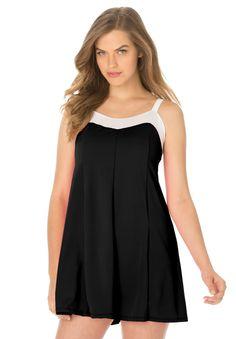 New Arrivals Plus Size Modest Conservative Swimsuit One Piece Swimdress 3XL-6XL http://www.aliexpress.com/store/1687168   Colorblock Swimdress | Plus Size Swimdresses | fullbeauty