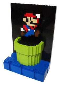 A little Super Mario Lego art - awesome Mario Bros, Nintendo, Lego Mario, Used Legos, Lego Sculptures, Lego Club, Lego Craft, Super Mario Party, 3d Figures