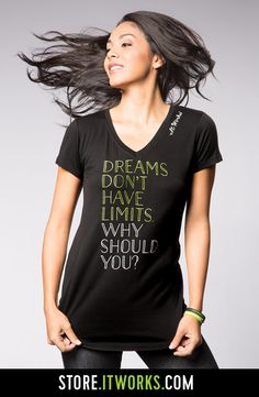 Dreams Don't Have Limits Foil V-neck Tee... love our clothes! Rissy.myitworks.com
