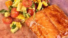 Cedar Plank Halibut with Corn Salad Recipe | The Chew - ABC.com Corn Salad Recipes, Corn Salads, Fish Recipes, Seafood Recipes, Fish Dishes, Seafood Dishes, Fish And Seafood, Main Dishes, The Chew Recipes