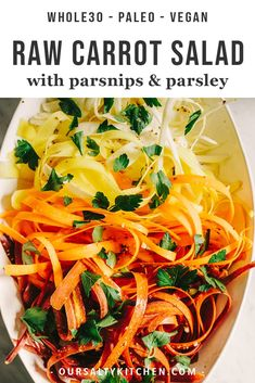 This raw carrot salad with parsnips is a sweet, crunchy and refreshing whole food recipe. It comes together quickly and pairs perfectly with pulled pork and avocado for easy, weeknight paleo tacos. Healthy Salad Recipes, Raw Food Recipes, Vegetable Recipes, Vegetarian Recipes, Protein Recipes, Vegetarian Cooking, Kitchen Recipes, Healthy Side Dishes, Side Dish Recipes