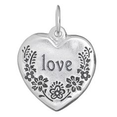 This one couldn't be sweeter, the only thing that makes it better is someone special wearing it, and proudly (you, or others adored). A dainty floral motif frames the words that best fit: lover, mother, or blessed, (can be, all of the above).  Sterling Silver   Pendant is 7/8 inch