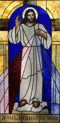 Divine Mercy Image in stained glass