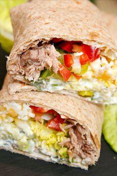 Healthy Diet Recipes, Snack Recipes, Healthy Wraps, Healthy Food, Tortillas, Tzatziki Recipes, Pizza Snacks, Tacos And Burritos, Wrap Recipes