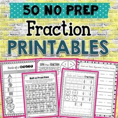 Give your students FUN fraction practice with these 50+ printables! They cover equal parts, fractions in a set, fractions on a number line, comparing fractions, and equivalent fractions.