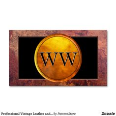 Professional Vintage Leather and Gold Monogram Double-Sided Standard Business Cards (Pack Of 100)