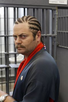 He's also not afraid to give cornrows a try: | 28 Reasons Why Nick Offerman Is The Greatest Man Who Has Ever Lived