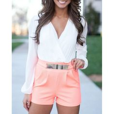 This long sleeve short number has a white top, plunging V-neck, pleated coral bottom, and faux belt. Turn heads during a night on the town in this number by pairing with heels or wedges for a complete and dreamy look. Passion For Fashion, Love Fashion, Womens Fashion, Trendy Fashion, Fashion Trends, Spring Summer Fashion, Spring Outfits, Look Girl, Casual Outfits