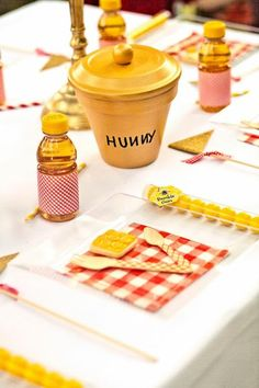place setting 100 Acre Wood Party with Winnie the Pooh Friends via baby shower ideas and shops