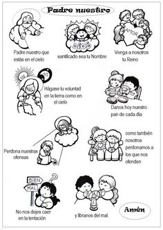 OJO, hacer reformas al texto para enseñarlo según la Biblia Catholic Catechism, Catholic Religious Education, Catholic Kids, Catholic Prayers, Catholic Crafts, Catholic School, Sunday School Activities, Bible Activities, Our Father Prayer