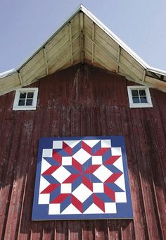 If you have ever taken a drive and noticed a painted quilt block on a barn you may have wondered what it was. The size of the quilt squar. Barn Quilt Designs, Barn Quilt Patterns, Quilting Designs, Patchwork Patterns, Patchwork Designs, Block Patterns, Mosaic Patterns, Quilting Projects, Rustic Barn