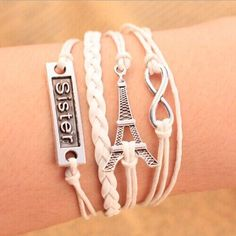 Infinite Effel Tower and Sister Charm Bracelet Style by ATHiNGZ, $4.99