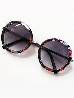 #AdoreWe #SheIn Sunglasses - SheIn Purple Round Lenses Floral Sunglasses - AdoreWe.com