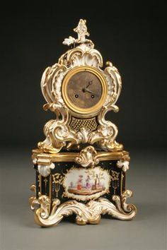 19th Century French Louis XV porcelain clock, circa 1830 with silk suspension. #antique #clock