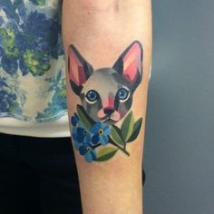 Love this cat tattoo by Sasha Unisex