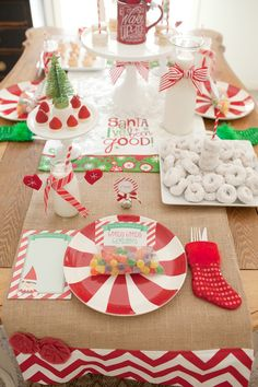 Yummy table spread at a North Pole Elf on the Shelf Party!   See more party ideas at CatchMyParty.com!  #partyideas #christmas