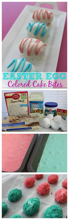 Easter Egg Cake Bites Recipe and Tutorial – Pink and Blue Cake Center, these make a yummy Easter Dessert. They are a great easy cake pop alternative.