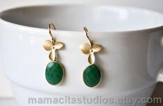 Earrings, Emerald. want.