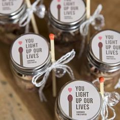 Make your own fire starter wedding favors! - Make your own fire starter wedding favors! Wedding Favour Jars, Honey Wedding Favors, Creative Wedding Favors, Inexpensive Wedding Favors, Elegant Wedding Favors, Edible Wedding Favors, Wedding Gifts For Guests, Wedding Party Favors, Diy Wedding