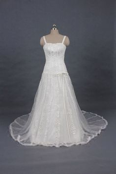 Graceful Spaghetti Straps and Bowknot Design Court Train Wedding Dress For Bride