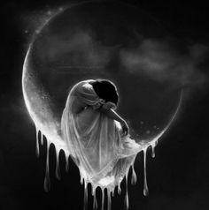 Tears In Heaven by kuschelirmel [Jasmin Junger] Tears In Heaven, Dark Fantasy, Fantasy Art, Beautiful Moon, Lunar Chronicles, Moon Goddess, Gothic Art, Moon Art, Pics Art
