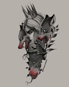 Dope Tattoos, Black Tattoos, Body Art Tattoos, Tattoos For Women Half Sleeve, Sleeve Tattoos, Neo Traditional Art, Werewolf Tattoo, Mujeres Tattoo, Lioness Tattoo