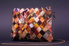 Handmade magazine clutch purse, fashion statement handbag, paper women purse, fashion magazine purse, unique boho style clutch