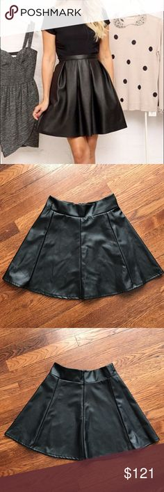 Faux Leather Skater Skirt Cute black faux leather skater skirt. 100% polyester. Has small marking on waist band see picture 4   No Trading   Reasonable Offers are Always Welcomed Socialite Skirts Mini