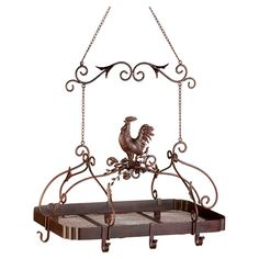 Rooster Hanging Pot Rack in Rust by Zingz & Thingz