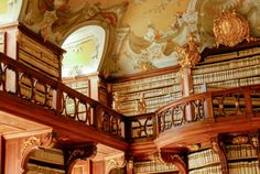 Seitenstetten Abbey Library in Seitenstetten, Austria. The Library is famous for its art collection that holds 600 Gothic and Baroque paintings; and a natural history collection of minerals and gem stones from 1766. Seitenstetten′s library holds approximately 50,000 volumes.