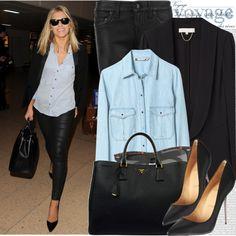 Chambray blouse, black blazer, black leather pants, black pointy toe pumps, black leather bag + black sunglasses | Celebrity Style: Mollie King