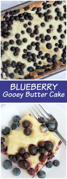 Super easy recipe for Blueberry Gooey Butter Cake - from RecipeGirl.com. This is the perfect summer dessert recipe.