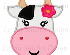 Instant Download Girl Cow Face Applique by JoyousEmbroidery