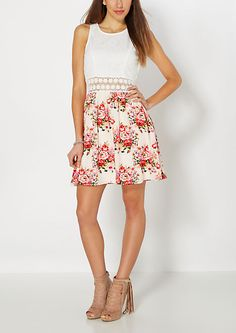 Floral Illusion Crochet Skater Dress | rue21