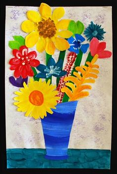 Van Gogh Still Life. Collage of previously painted flowers and vase.
