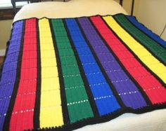 Primary Colors Striped Afghan Pattern PDF, easy beginner afghan!