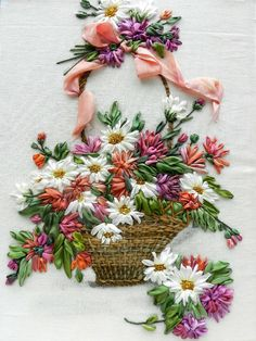 Basket, silk ribbon embroidery